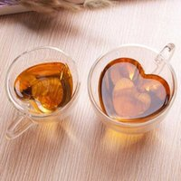 크리 에이 티브 밀키 차 머그잔 심장 - 모양의 비 핫 더블 레이어 유리 높은 붕규산 주스 음료 커피 컵