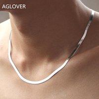 Ketten AGLOVER 925 Sterling Silber Halskette 4mm 45 cm / 50 cm / 55cm Männer und Frauen Paare Klinge Kette Modeschmuck Geschenke