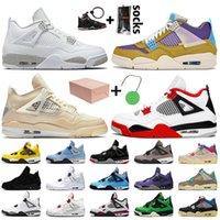 Nike Air Jordan retro 4 Travis scott 4 4s OFF White SAIL 최고 품질 남성 여자 농구 신발 코트 퍼플 블루 FIBA 네온 검은 고양이 트레이너 운동화