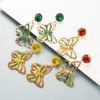 S925 Silver Pin Butterfly Earrings Fashion Women Studs Colorful Crystal Rhinestone Animal Pendant Drop Jewelry Gifts Lady Girls Street Party Charming Accessories