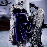 Insgoth Goth Çapraz Seksi Mor Elbise Vintage Kadife Bir Çizgi Lolita Elbise Estetik Gotik Yüksek Bel Bayanlar Kulübü Parti Elbiseler