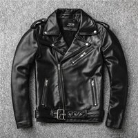 Cuero de hombre Faux Classical Perfecto Chaqueta Chaquetas de Motocicleta Men Zealand Sheepskin Negro Abrigo genuino Slim 24 '' - 27 '' de longitud