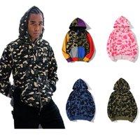 Mais novo Europeu dos homens americanos Moda Moda Camuflagem Impressão Hoodie Homens Pulôver Clássico Outono Inverno Fino Plush Mans Womens Casaco De Camisetas Com Zíper
