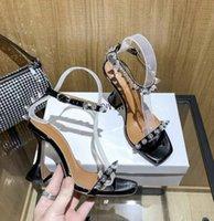 Mit Box Offizielle Qualität Sandalen Amina Hausschuhe Schuhe Kristall-verzierte Slingback Pumps Muaddi Auftauchen Begum Schlingbacks 10 cm High Heel