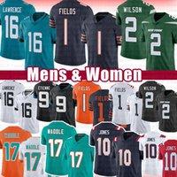16 Trevor Lawrence 1 Justin Fields 10 Mac Jones American Football Jersey 2 Zach Wilson 9 Travis Etienne 17 Jaylen Waddle Jerseys 2021 Draft Mens