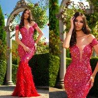 빨간 섹시한 인어 이브닝 드레스 어깨 긴 소매 스팽글 깃털 얇은 댄스 파티 드레스 바닥 길이 특별 행사 드레스