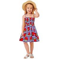 Girl's Dresses Summer Dress Baby Kids Girls Sleeveless Suspended Flower Print Princess Swing Girl Clothes Costume#45