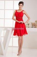 신부 들러리 드레스 2021 고품질 디자인 Vestidos de Noiva 독특한 고급 스트랩 구슬 섹시한 쉬폰 레드 Bridemaid 드레스