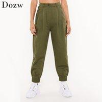 Fashion Women Streetwear Cargo Pants High Waist Solid Pleated Trousers Ladies Loose Pockets Joggers Sweatpants 210422