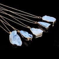 Stone necklaces quartz Druzy Crystal Healing Point Chakra Bead Gemstone Pendant For women Fashion DFF5037