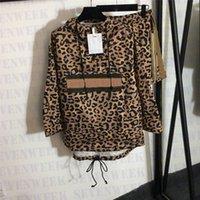 Delle donne Tracksuits Leopard Pattern Felpe con cappuccio Giacche Pantaloncini Two Piece Set Moda Ragazze A Vita Vento Cappotti Abbigliamento sportivo Abbigliamento donna