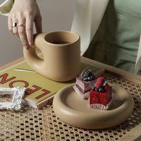 Mugs 320ML 380ML Nordic Ceramic Mug Fat Handle Coffee Cup And Saucer Set High Temperature Heat Insulation Water Self Stirring