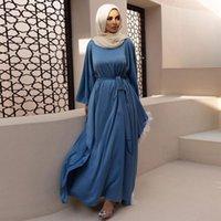 New Modest Robe Dubai Abaya Muslim For Women Maxi Dress Elegant Bat Sleeve Turkish Kaftan Islamic Clothing Arabic Femme Vestidos
