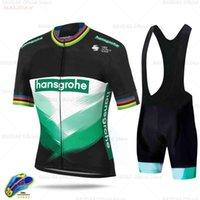 2021 Boraful Hansgrohe Ciclismo Hombre 여름 사이클링 저지 통기성 남성 반소매 셔츠 자전거 턱받이 반바지 19D 젤 패드 X0503
