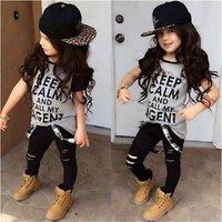 2 Stück Kleinkind Kinder Baby Mädchen Kleidung Set Kurzarm T-Shirt mit langen Hosen Outfits 2-7 Jahr kleine Mädchen Kleidung