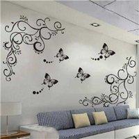 클래식 블랙 플라워 포도 나무 나비 벽 스티커 홈 장식 거실 가구 냉장고 침실 벽 데칼 DIY 벽화 예술 Y0805
