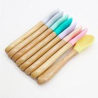 Baby Bamboo Cuillère d'entraînement bio Fournisseur de la silicone Bouge à pointe Silicone Poignée facile Grip poignée Toddlers Cadeaux pour nourrissons Zze5627