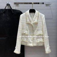 High-End-Landebahndesign Massive Wollmischungen Tweed Jacke Frauen Mode Revers Taschen Patchwork Streifen Muster Vintage Mantel Frauen