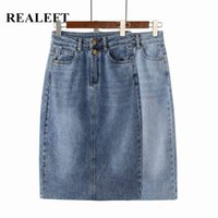 Realeft Frühling Sommer Vintage Damen Denim Rock High WASIT Jeans Gerade Weibliche A-Linie Bleistift Back Split