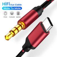 3.5 잭 AUX 오디오 케이블 타입 C ~ 3.5mm 잭 어댑터 케이블 스피커 자동차 유형 C ~ 3.5 전화 액세서리 USB C 어댑터 와이어 코드