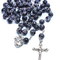 Catholic Rosary Prayer Necklace Imitation Ceramic Beads Religious Jewelry Cross Necklace