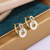 Hoop & Huggie Shell Women's Earrings Korean 2021 Jewelry Round Earing Gold Color With Shiny Zircon Gifts For Girls Fashion KCE056