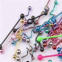 Tunga bar t01 20pcs mix stil mix färg rostfritt stål industriell barbell tunga ring kropp piercing smycken zvzna 588 t2