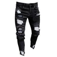 Hombres Splitriky Ripped Skinny Biker Bordado Imprimir Jeans Destruido Agujero grabado Slim Fit Denim Jeans rayados