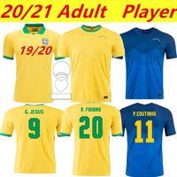 브라질 2020 2021 Camiseta Futbol Paqueta Neres Coutinho 축구 셔츠 Firmino 예수 축구 유니폼 Marcelo Maillot de Foot Brasil