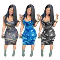 Camouflage d'été Camouflage de femmes imprimée suspendue à col en U Sexy robe sexy Tieye Casual Sans Manches Robes serrées Dames Filles Vêtements de sport G65X6XQQ