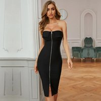 Casual Dresses Ocstrade Sexy Strapless Bandage Dress 2021 Women Mid-Calf Length Black Bodycon Club Night Party