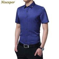 Niesxper 2021 Мужчины Мода Человек Случайные Короткие Рукав Slim Fit Хорошее Качество Сплошная мужская Социальная Мужская Рубашка Плюс Размер 5XL Рубашки