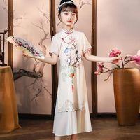 Ethnic Clothing Style Girls Summer Printing Qipao Kids Elegant Chinese Traditional Dress Fancy Hanfu Cheongsam For Children