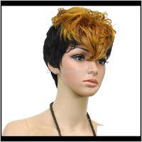 Frauen 2 Töne Hitzebeständige Haare Doppelfarb Kurz Curly Party Cosplay Perücke 3 Farben 1PEID Perücken RESBB