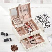 Couro coreano organizador de jóias caixa de armazenamento viajar grande capacidade multi-camada gaveta entrega livre cosmético fhl428-wy1608