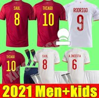 2021 Erkekler Kids Kiti España Rodrigo Paco Alcacer İspanya Futbol Jersey Morata Ramos Sarabia Iniesta Futbol Gömlek Camisetas de Futbol
