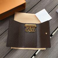 도매 디자이너 여성 클래식 6 홀더 커버 지갑 가죽 높은 품질 꽃 키 체인 망 상자 먼지 가방 카드 링 7 색 여성 키 지갑