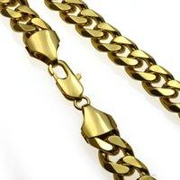2021 новое ожерелье мода тяжелые мужские блестящие довольно хорошие сплошные кубинские ожерелье бордюр цепи золота 60см 50 см N276 вес очень хороший 18к заполненный QABP