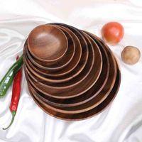 라운드 단단한 나무 접시 전체 아카시아 나무 과일 요리 나무 접시 티 트레이 디저트 디너 아침 식사 플레이트 식기 멀티 크기 DBC BH4433