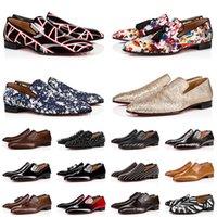 2022 OG Mens Red Bottoms Loafers Dress Shoes Black Suede Patent Leather Rivets Glitter Loafer Men Fashion Designer Sneakers Shoe Size 38-47