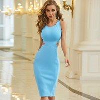 Повседневные платья Adyce 2021 летние женщины, выдолбленные тела Bodycon Bandage платье сексуальный танк без рукавов голубой клуб знаменитости взлетно-посадочная полоса вечеринка Vestido