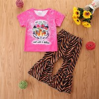 Kids Clothing Sets Girl Suit Outfits Baby Clothes Children Wear Summer Cotton Short Sleeve T-shirts Leopard Flared Trousers Pants 2Pcs B5636