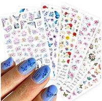 Slides de mariposa 3D pegatinas de uñas flores coloridas adhesivos rosa rojos Manicura calcomanías de manicura láminas de uñas Decoraciones de tatuaje