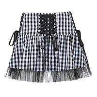 Skirts Gothic Black Tulle Patchwork Tutu Skirt Women Y2K Harajuku Lace-Up Bandage Plaid Micro Mini Goth Sexy Girls Clothes