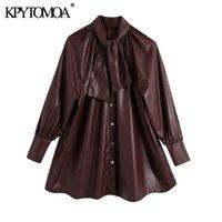 KPYTOMOA Kadınlar 2021 Moda ile Yay Faux Deri Bluzlar Vintage Yüksek Boyun Uzun Kollu Kadın Gömlek Blusas Chic Tops