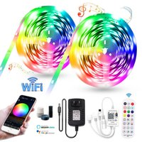 Strips Wifi Music Led Strip Light Diode Wall Backlight With Adapter RGB Flexible Ribbon Tape Room Decoration Neon Lamps Set