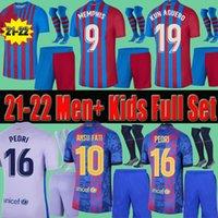 Homens Adultos Crianças Barcelona 21 22 Camisas de futebol Meias curtas Conjunto completo Kun Aguero Memphis Pedri Ansu Fati Dest 2021 2022 Griezmann Messi Futebol Camisas F.De Jong Terceiro