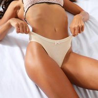 Women's Panties G-String Briefs Cotton Striped Thong Ladies Low-Rise Sexy Lingerie T-Back Pants Intimates Underwear