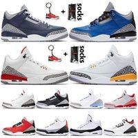 مع الجوارب Nike Air Jordan Retro 3 georgetown jumpman 3 3S أحذية رجالي كرة السلة 2021 الأزياء تينكر هاتفيلد اسكوجا رويال الليزر البرتقالي