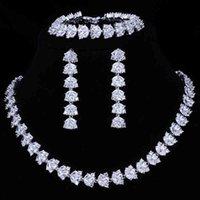 Эммая роскошные свадебные наборы для женщин-сверкающих ААА Циркон, вымощенный рукой 3 шт. Свадебные украшения